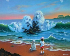 Jim Warren Fantasy Dog Home Decor Handcrafts  HD Print Oil Painting On Canvas Wall Art Canvas Pictures , F201130