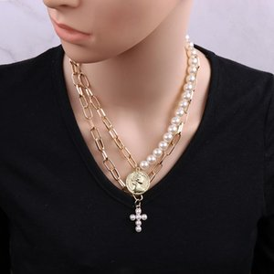 Summer Vintage Simulated Pearl Statement Necklace Women Long Metal Chain Pendant Necklace Choker Collar Jewelry