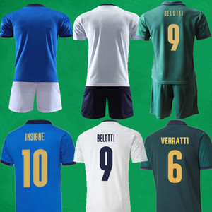 20 21 Soccer Jerseys Mens + Kids Football Shirts 세트 2020 2021 Verratti Insigne Jorginho 축구 셔츠 이탈리아 축구 키트