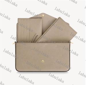 Üç parçalı cüzdan kahverengi mektup çiçek deri moda pochette zincir omuz çantası çanta mini cüzdan kart çantası moda çanta kutusu ile