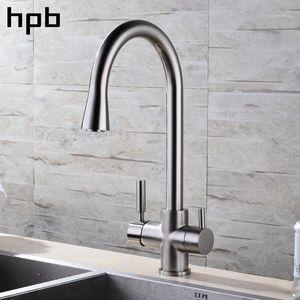 HPB نحى النيكل الانتهاء 3 طريقة صنبور المطبخ تصفية المياه الحنفية 2 وظائف بالوعة خلاط الماء الساخن والبارد 360 دوران HP43031