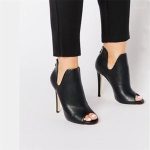New Design Women Boots Black Open Toe High Heels Shoes Spring Autumn Woman Ankle Boots Size 35 - 401