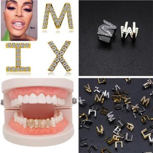 Gold & White Gold Iced Out A-Z Custom Letter Grillz Full Diamond Teeth DIY Fang Grills Bottom Tooth Cap Hip Hop Dental Mouth Teeth Braces v9