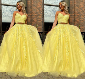 2021 yellow two pieces a line prom dresses party wear evening gowns Modern Vestidos De Fiesta formal evening dresses