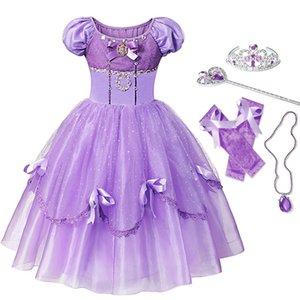 Yofeel Princess Sofia платье для девочек дети косплей костюм слоеный рукав слойд платья детская вечеринка день рождения София модных костюмов 201020
