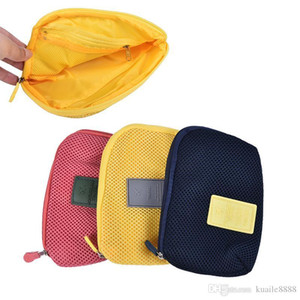 Portable Travel Storage Box For Digital Data Cable Charger Headphone Mesh Sponge Bag Cosmetic Bag