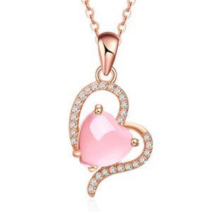 10 Pcs Romantic Style Rose Gold Plated Love Heart Pendant Link Chain Necklace Rose Quartz Jewelry