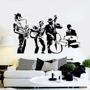 Jazz Band Wall Decal Musical Art Concert Music Studio Interior Decor Vinyl Window Stickers Creative Removable Men Wallpaper