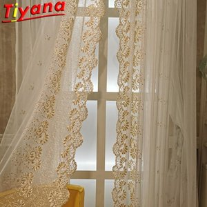 European Side Lace Gauze Curtain for Living Room Elegant Golden Rope Embroidered Tulle for Bedroom Unlimited Height #GI LJ201224