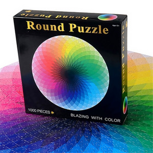 1000 pcs set Colorful Rainbow Round Geometrical Photo Puzzle Paper Adult Kids DIY Jigsaw Puzzle Educational Reduce Stress Toy 201218