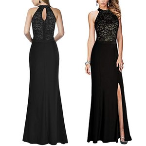 Halter high back ladies formal evening dress with leg slits sexy fashion banquet toast dress lace upper body strapless dress custom