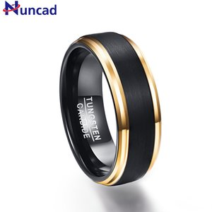 Nuncad classic black men rings 100% pure Tungsten Gold-Color wedding engagement ring free shipping Y1119