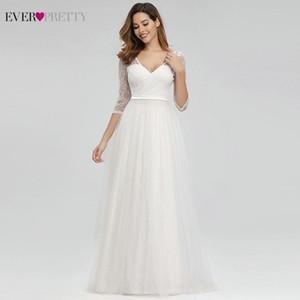 Ever Pretty Elegant Lace Wedding V-Neck A-Line Zipper Sexy White Formal Bride Dresses EP00806WH Vestidos De Novia 2020 Q1110
