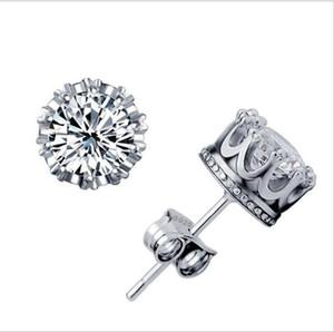 الاسترليني الفضة تشيكوسلوفاكيا الماس التاج أقراط الأزياء والمجوهرات جميلة الزفاف الذهب والفضة تاج أقراط 1542
