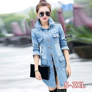 Lange Jeans Mäntel Frauen Slim Riss Denim Jacke Elegante Damen Biker Casual Jeans Jacken Outwear Mit Pocket Revers Löcher