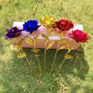 2020 творческий Рождественский день Святого Валентина 24k золотые листья роза искусственные цветы мода красочные праздничные подарки День святого Валентина роза E120304