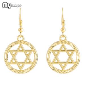 Meine Form Runder Hohlstern von David Baumeln Ohrringe Vintage Religiöse Jüdische Goldene Wiccan Lagre Ohrringe Damen Schmuck Legierung