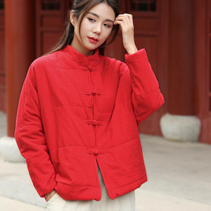 Johnature Autumn Winter Retro Single Breasted Cotton Linen Thick Cotton Parkas 2020 New Simple Leisure All-match Women Coat