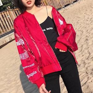 Bella Philosophy 2020 spring women long sleeve jacket O Neck fashion letter female jacket zipper velvet ladies embroidery