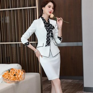 New S-5XL Plus Size Business Women Skirt Suits Temperament Formal Long Sleeve Blazer and Skirt Office Ladies Interview Work Wear
