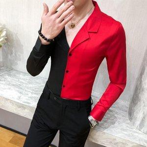 GZDEERAX Spring Spring Splicing Design T-shirts Homme Haute Qualité Manches longues Couleur Solide Chemises Male Chemises Mode Fête Slim Fête Mens Homme Chemise