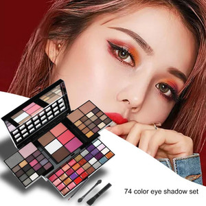 Pro Makeup 74 Color Eye Shadow Palette 3 Layer Concealer Lipstick Powder Blush Cosmetics Set Matte with Brush Eye Showdow Palet