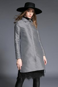 New spring and autumn women coat, suit collar striped long jacket outerwear