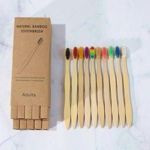 10 teile / box Bambuszahnbürste Natürliche Bambuszahnbürste Farbe Zahnbürste Bambus Holzkohle Weiche Borsten Einweg Zahnbürste Freies Verschiffen