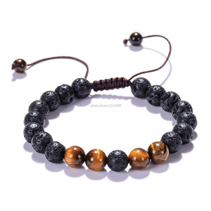 8mm Yoga Lava Rock Bracelet natural stone Tiger eye turquoise Essential Oil Diffuser bracelets women men fashion jewelry will and sandy gift