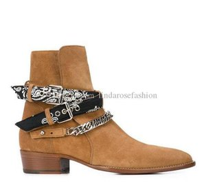 New Brand Ankle Chain Straps Boots Stars Kanye West Rock Street Punk Western Cowboy Genuine Leather Man Boots Buckle Fashion Shoes