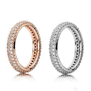 925 anillos de plata esterlina con caja original de circón cúbico para el anillo de moda de Pandora para el anillo de bodas de oro del día de San Valentín.