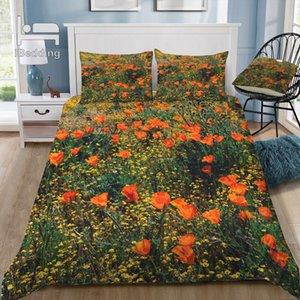 California Poppies Set di biancheria da letto 3D Stampato Cover Duvet Set Queen King Twin Dimensione Z1126