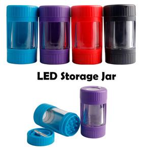 Son Renkli LED Işık Kuru Herb Tütün Öğütücü Mühürlü Depolama Tankı Kavanozlar Stash Kılıf One Hitter Sigara Handpipe Taşınabilir Çok fonksiyonlu
