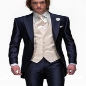Мужские костюмы Blazers Прибытие шариковины для бальных платьев мужчины для новейших пальто брюки дизайна Slim Fit сшиваемая куртка ВМС BULE BULE (куртка + брюки + жилет)
