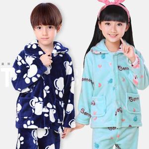 Inverno Bambini Pijamas Flanella Sleepwear Girls Girls Boys Pajamas Coral Fleece Bambini Pigiama Set 3-13T Vestiti per bambini Nightwear / Homewear Y200114