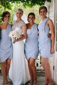 Charming One Shoulder Short Bridesmaid Dresses Unique Design Prom Dress Maid of Honor Dress for Wedding Party