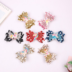 Girl Child Hair Bow Clip Unicorn Sequin Barrettes Hairbow Star Hairpin Xmas Hair Head Accessories 7 Colors