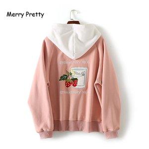 Merry Pretty Sudaderas con capucha Sudaderas Femenino Strailberry Sudaderas Sudaderas Invierno Harajuku Solterstring Jerseysuit