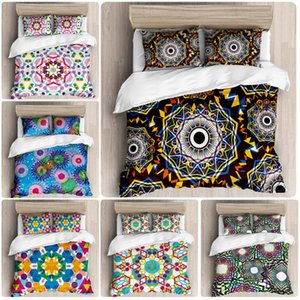 3 unids cubierta de funda de almohada funda de almohada de poliéster conjunto de ropa de cama India Bohemia National Colored Pattern Doble ropa de cama Doble Materia Textil