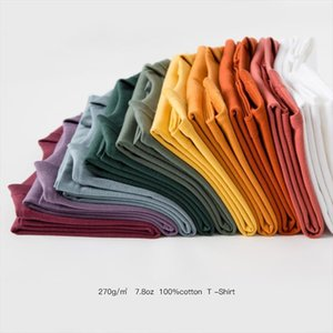 100% Cotton Tee Top Unisex Short Sleeve Woman Solid Loose Casual T Shirts Plus Size Men Thick Basic Tees