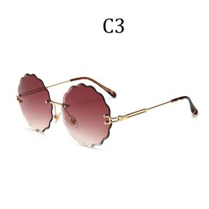 Luxury Italy Brand Design women Flower Round Rimless sunglasses feminine Gafas oculos UV400 Gradient ocean lens