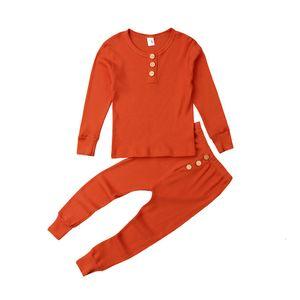 Kids Pajama Sets Дети 2 Шт. Пижама Baby Pajamas Мальчики Девушки Сплошные мягкие пижамы Pijamas Хлопковая ночная одежда Sleekwears Unkn