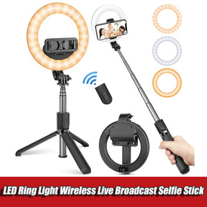 Wireless Bluetooth Extendable Selfie Stick Foldable Handheld Remote Shutter Mini Tripods With 5inch LED Ring Light For Android IOS