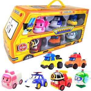 6 unids / set Box Original Robocar Poli Corea Kids Toys Robot Transformación Anime Figura Toys para niños Playmobil Juguetes 201202