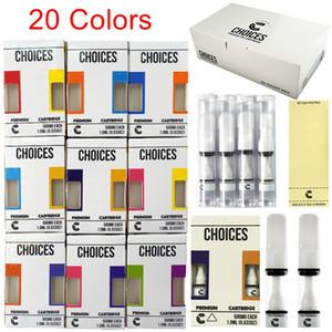 20 цветов варианты варуса картриджи упаковочные полные керамические пустые тележки 0.5 мл пресса на 510 резьбовых стекло толщиной масляный волск испаритель распылитель