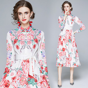 High-end Lapel Womens Dress Long Sleeve Temperament Printed Dresses Autumn Midi Dress Fashion Bow Lady Dress