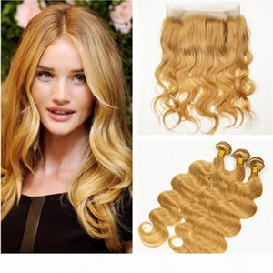 Strawberry Blonde Body Wave Human Hair 360 Lace Frontal Closure with Bundles #27 Honey Blonde Brazilian Virgin Hair Weaves with 360 Frontal