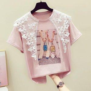 2020 Summer New Tees Cartoon Printing Diamond Lace Doll Collar Short-sleeved T-shirt Women's Casual Tops Shirt Students Tshirt