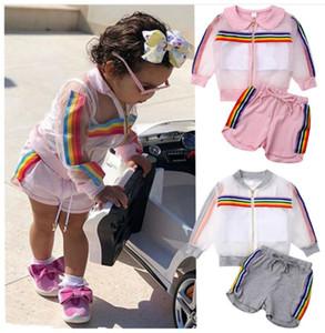 kids designer clothes girls outdoor sport outfits children Rainbow stripe coat+vest+shorts 3pcs set 2020 summer baby Clothing Sets C6583