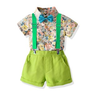 Top and Top Baby Boys Cotton Clothes Set Floral Design Short Sleeve Shirts Pants Infant 2Pcs Clothing Newborn Babies Costumes